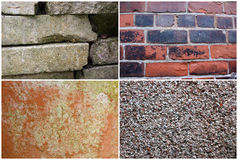 Four Textures I. Four different textures. Concrete, Damaged Terracotta Pot, Old Brick Wall and Stone Wall Stock Photos