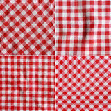 Four textures of a red and white checkered picnic blanket. Stock Photography