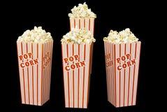 Four Theatre Boxes Of Fresh Popcorn Stock Photos