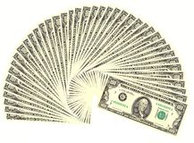 Four thousand dollars. Forty 100 dollars bills arranged in a fan-shape royalty free stock photography