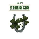 Four and three leaf clover, iron horseshoe for good luck. Greeting inscription St. Patrick Dn. Isolated on white Stock Photography