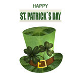 Four and three leaf clovers, green hat. Greeting inscription St. Patrick s Day. Isolated on white background Stock Photo
