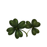 Four and three leaves clover. The symbol of St. Patrick s Day with. Isolated on white background. illustration Stock Photos