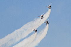 Four Thunderbird Jets on Approaching RUn. In Oklahoma City stock photography