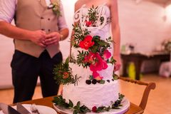 Four tier white wedding cake decorated with red roses and greenery. Newlyweds near the wedding cake. stock photos
