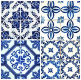Four tiles in blue Royalty Free Stock Images