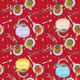 Tea house accessories pattern Royalty Free Stock Photos