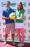 Four-time Olympic gold medalist Missy Franklin co-host with TV personality Quddus at Arthur Ashe Kids Day 2013. NEW YORK - AUGUST 24 Four-time Olympic gold Royalty Free Stock Images