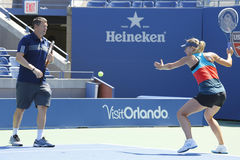 Four times Grand Slam champion Maria Sharapova practices with her coach Sven Groeneveld for US Open 2014 Stock Photography