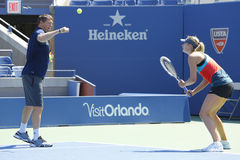 Four times Grand Slam champion Maria Sharapova practices with her coach Sven Groeneveld for US Open 2014 Royalty Free Stock Image