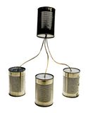 Four tin can phones Royalty Free Stock Image