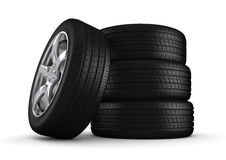 Four tires isolated close-up Royalty Free Stock Images