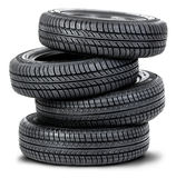 Four tires on the white background Royalty Free Stock Photo
