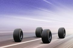 Four tires on winter road. Four automobile wheels rush on winter road in snowstorm vector illustration