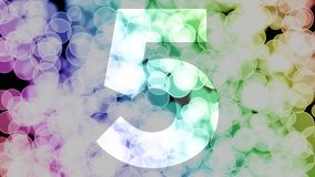Four to five years birthday fade in/out animation with color gradient moving bokeh background. Animation: 90 frames still with number, 180 fade out, 30 clear royalty free illustration