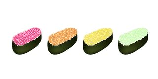 Four Tobiko Roe Sushi on White Background Stock Photos