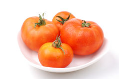 Four tomatoes on a plate Royalty Free Stock Photos
