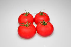 Four tomatoes on  white. Four , fresh red tomatoes in two rows on the white  background.Close,horizontal view Stock Images