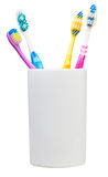 Four tooth brushes in ceramic glass Stock Image