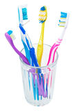 Four tooth brushes and interdental brush in glass Royalty Free Stock Images