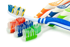 Four toothbrushes. Toothbrushes isolated on white background Royalty Free Stock Photos
