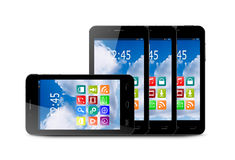 Four touchscreen smartphone with application icons. Four touchscreen smartphones with applications on screens Stock Image