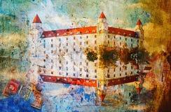 Four tower Bratislava castle, abstract digital art. Printable on canvas, wallpaper Stock Photos
