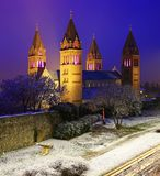 Four tower cathedral in Pecs, Hungary. At night Stock Image