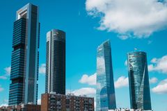 Four towers building in Madrid. Skyscrapers view from Chamartin Train Station royalty free stock image
