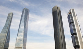 Four towers skyscrapers financial area in Madrid, Spain Stock Images