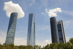 Four towers skyscrapers financial area in Madrid, Spain Royalty Free Stock Photography