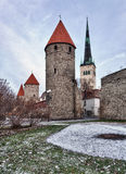 Four towers of town wall of Tallinn Stock Photo