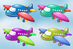 Four toy planes in the sky Royalty Free Stock Images