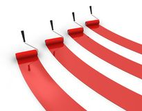 Four trails of red paint Stock Photography