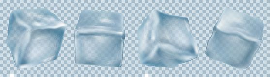 Four Transparent Ice Cubes In Blue Colors Stock Image
