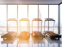 Four treadmills toning Stock Photo