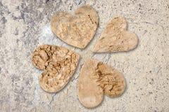 Four tree bark hearts Royalty Free Stock Image