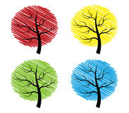 Four trees. In abstract style on white background Royalty Free Stock Photo