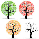 Four trees with green, red, yellow leaves and without leaves. Stock Images
