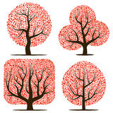 Four trees with red leaves Royalty Free Stock Photo