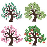 Four trees on white background Stock Photography