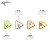 Four triangular elements or arrows with pictograms in thin line style and text boxes. 4 triangular elements or arrows with pictograms in thin line style and text Royalty Free Stock Photos