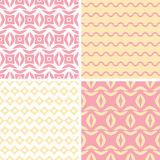 Four tribal pink and yellow abstract geometric Stock Image