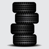 Four Truck tire tracks with shadow Stock Photos