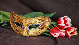 Four tulips and venetian carnival mask on brown sofa Stock Photo