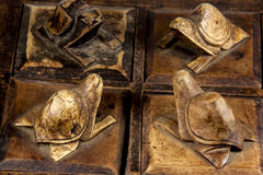 Four Turtles Hand Carved Out Of Wood Royalty Free Stock Photography