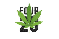 Four-twenty vector T-Shirt print with realistic Marijuana leaf. Conceptual cannabis culture illustration Stock Photos