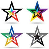 Star logo - colorful vector illustration. Four type of colorful vector illustration of star logo on isolated background vector illustration