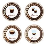 Four Type of Hot Coffee in Retro Round Label Royalty Free Stock Images
