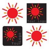 Sun icons illustraion on white background. Four type of sun icons -  illustration on white background Royalty Free Stock Photography